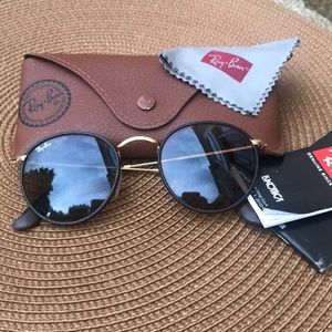 Ray-Ban Round Leather Sunglasses